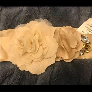 Beautiful Tan Floral Sash
